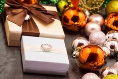 Red ball and gift boxes Christmas background and or graphic design.  royalty free stock photo