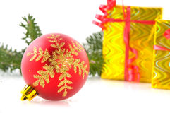 Red ball with golden decoration Stock Photos