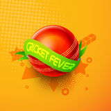 Red ball with green ribbon for Cricket Fever. Stock Photo