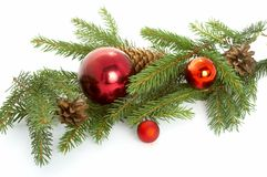 Red ball hanging from christmas tree Royalty Free Stock Image