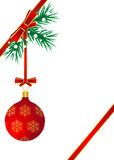 Red ball hanging on the Christmas tree Royalty Free Stock Photo
