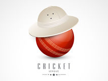 Red ball in hat for Cricket League. Stock Photography