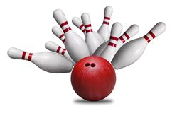 Red Ball Hitting Pins in Bowling Strike Isolated on White Backgr Stock Image