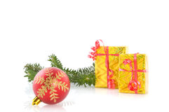 Red ball with luxury presents Stock Photography