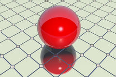 Red ball on a mirror Royalty Free Stock Photography
