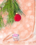 Red ball and necklace New year picture Stock Image