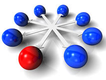 Red ball network. One in a chain for symbol of networking or goup Royalty Free Stock Photo