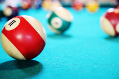 Red ball in pool table Royalty Free Stock Photo