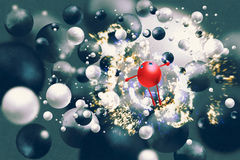 Red ball raising arms amongst floating black&white balls Stock Photography