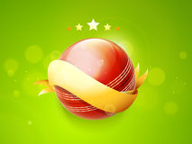 Red ball with ribbon for Cricket. Royalty Free Stock Photo