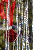 Red ball on the ribbon hanging on a the Christmas tree among shi Stock Image