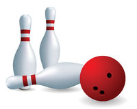 Red ball and skittles. Bowling. Skittles and ball on a white background Royalty Free Stock Photo