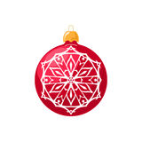 Red Ball with Snowflake  on White Royalty Free Stock Image