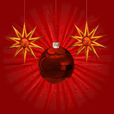 Red ball and stars ornament Royalty Free Stock Photos