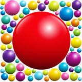 Red Ball Surrounded By Colorful Balls. Red ball surrounded by many colorful balls -  vector illustration on white background Stock Photo
