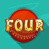 Red ball with text for Cricket. Red ball with creative text Four for shot in Cricket match on stylish green background Royalty Free Stock Photos