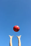 Red ball thrown in the air royalty free stock photography