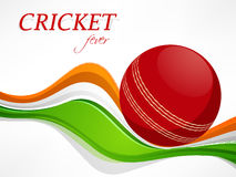 Red ball with tricolor waves for Cricket Fever. Royalty Free Stock Photo