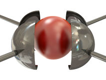 Red ball under pressure Royalty Free Stock Photo