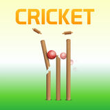 Red ball with wicket stump for Cricket sports concept. Royalty Free Stock Photo