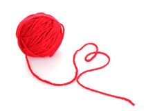 Red ball of woollen red thread isolated Stock Photo