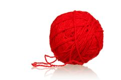 Red ball of yarn Royalty Free Stock Photos