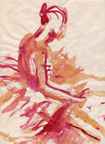 Red ballerina, drawing Stock Image