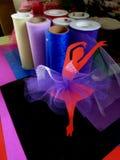 Red Ballerina with Tulle Mixed Media Art stock photo