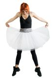 Red ballerina wearing black tutu Royalty Free Stock Photos
