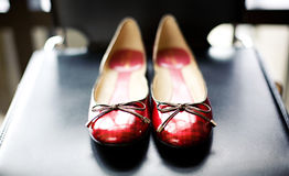 Red Ballet Flats. Single pair of plaid red ballet flat shoes Royalty Free Stock Photos