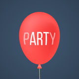 Red ballon with white lettering party Stock Image