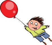 Red balloon. A funny boy flies a red balloon Royalty Free Stock Photography