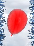 3d red balloon. Red balloon and blue nails danger concept 3d rendering image Royalty Free Stock Photos