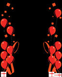 Red balloon celebration  backg. Red balloons on a black background with illustrations along left and right side Stock Photos