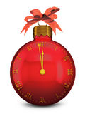 Red balloon. Clock in the shape of a ball for Christmas tree vector illustration