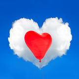 Red balloon and cloud shaped heart in the perfect blue sky Royalty Free Stock Images