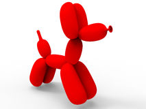 Red balloon dog. 3D render illustration of a red dog made of multiple balloons. The composition is isolated on a white background with shadows Stock Image