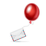 Red balloon with envelope  on white Royalty Free Stock Photography