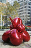 Red Balloon Flower by Jeff Koons at 7 World Trade Center in Manhattan Royalty Free Stock Photo