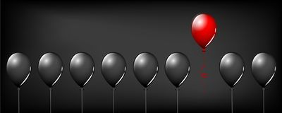 Red balloon fly away from black balloons on black background different concept design stock illustration