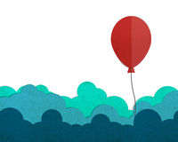 Red balloon flying on a cloud. Red balloon flying on a cloud, paper cut and paste Royalty Free Stock Photo