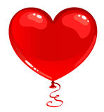 Red balloon heart. Cartoon illustration Stock Images