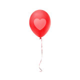 Red balloon with heart print, isolated on white Stock Photography