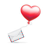 Red balloon in heart shaped with envelope  on white Stock Photography