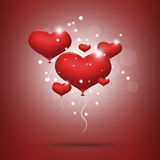 Red balloon hearts. Flouting red balloon hearts Royalty Free Stock Image
