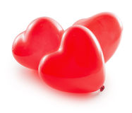 Red balloon hearts isolated on the white background Stock Photography