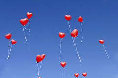 Red balloon hearts in the sky Royalty Free Stock Photography