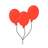 Red balloon icon with rope. Concept of happy valentine day, recreational, recreation park item, festival, toy. isolated on white background. flat style trend Royalty Free Stock Photos