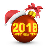 Red balloon 2018. Red balloon with the inscription 2018 and santa hat. 3d render Royalty Free Stock Photography