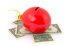 Red balloon piggy Bank Royalty Free Stock Image
